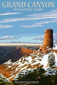 Grand Canyon National Park - Watchtower & Snow - Lantern Press Poster