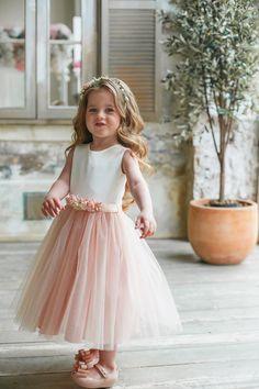Flower girl dress, Blush child dress, Flower sash, - It's a Girl
