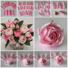 47 ideas for origami rose tutorial bouquets Large Paper Flowers, Tissue Paper Flowers, Paper Flower Backdrop, Paper Flower Centerpieces, White Centerpiece, Handmade Flowers, Diy Flowers, Fabric Flowers, Crepe Paper Roses