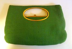 Vintage 60s Green Woven Handheld Bag With Mod by eveningredness