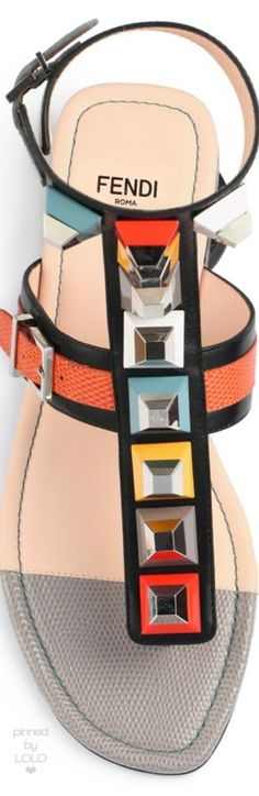 Fendi Multicolor Studded Ankle-Wrap Sandal, Black | LOLO❤︎