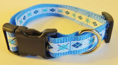 Small Blue/White Argyle Dog Collar by WildThingzPetGear on Etsy