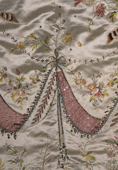 Detail of Court Dress & Train said to have been made for Marie Antoinette by Rose Bertin.
