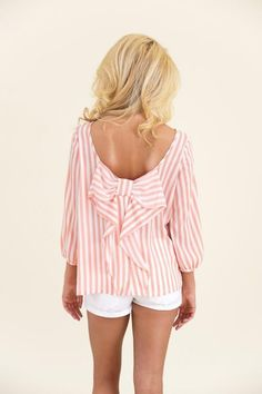 Pink and white stripe bow blouse. Cute!