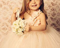 Blush & Champagne Tutu Dress- Flower Girl Dress- Princess Dress- Blush Dress- One Shoulder Dress Blush Tulle Skirt, Blush Flower Girl Dresses, Tulle Flower Girl, Princess Flower Girl Dresses, Blush Flowers, Blush Dresses, Tulle Dress, Girls Dresses, Sofia Costume