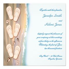 Flip Flops on the Beach Wedding Invitation