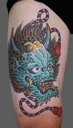 Henning thanks all his customers for the trust they show him. Hannya Maske Tattoo, Hannya Tattoo, Asian Tattoos, Sweet Tattoos, Music Tattoos, Body Art Tattoos, Japanese Demon Tattoo, Spirit Tattoo, Buddha Tattoos