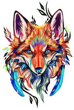 C: fox paint by Snow-Body on DeviantArt Wolf Tattoos, Tree Tattoos, Deer Tattoo, Raven Tattoo, Tattoo Ink, Hand Tattoos, Sleeve Tattoos, Fuchs Tattoo, Fox Painting