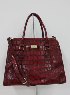 Michael Kors Gia Embossed Satchel Bordeaux Crocodile Detail Handbags