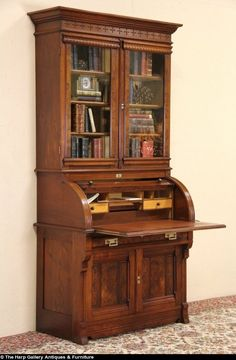 Victorian Eastlake 1870 Cylinder Roll Top Secretary Desk, Bookcase Top
