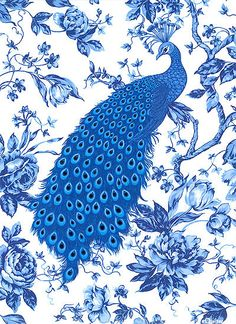 Items similar to NEW - Sapphire Peacocks -White - Blue Eden Collection - Benartex Fabric on Etsy Peacock Quilt, Peacock Art, Peacock Fabric, Peacock Theme, Chinoiserie, Blue And White Wallpaper, Blue Tattoo, Delft, Phoenix