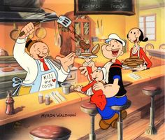 Betty Boop, Popeye The Sailor Man, Whimpy and Sweet Pea having lunch. Popeye Cartoon, Cartoon Tv, Cartoon Shows, Classic Cartoon Characters, Favorite Cartoon Character, Classic Cartoons, Betty Boop, Popeye And Olive, Vintage Cartoons