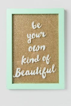Mint Own Kind of Beautiful Glitter Glass Wall Decor $28.00