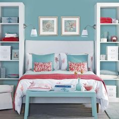 Gorgeous Ocean Blue with Deep Cerise against white makes this a vibrant but very pretty bedroom.