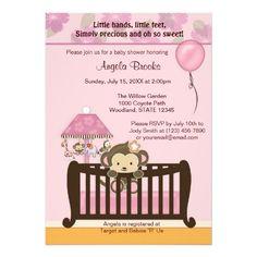 Monkey Baby Shower Invitation CJ PINK