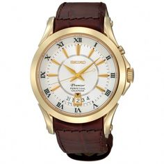 71c0a3634d4 Seiko SNQ118 Men s Watch Premier Perpetual Calendar Gold-Tone Case  Integrated Leather Strap  bestwatchesfashion