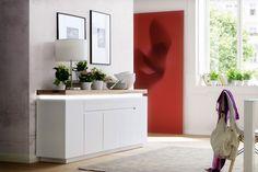 Sideboard Silke III mit LED - Beleuchtung Asteiche Massivholz in Kombination mit Weiß 1 x Sideboard inklusive effektvoller LED Beleuchtung  unter der 6 cm massiven Oberplatte...