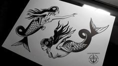By Lucas Nascimento  #sereia #tattoos #flashtattoo #oldschool #traditionaltattoo #Mermaid #blackwork