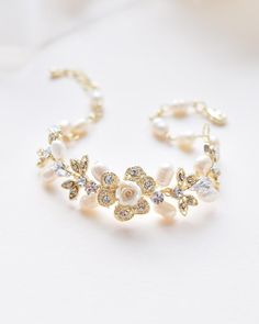Bridesmaids Organic Shaped AAA Cubic Zirconia organic double row bracelet- GOLD Formal Occasions Mother of the Bride or Groom Bride