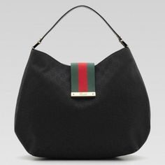Gucci Fabric Ladies Web Large Hobo Handbag 211933 Black black gg fabric  with green red 0f70a2913e7d