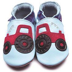 Inch Blue Girls Boys Luxury Leather Soft Sole Pram Shoes - Tractor Baby Blue - http://on-line-kaufen.de/inchblue/inch-blue-girls-boys-luxury-leather-soft-sole-pram