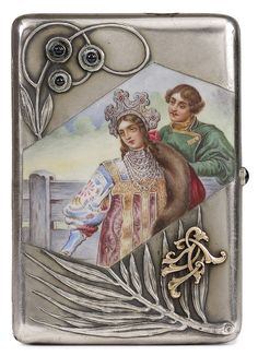 RUSSIAN SILVER AND EN PLEIN ENAMEL CIGARETTE CASE, PETER MILYUKOV, MOSCOW…