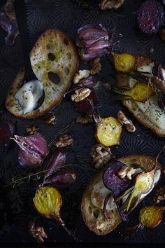 Sunday's ultimate comfort food : Roast beetroot bruschetta with roast garlic aioli / recipe