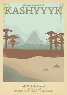 Retro Travel Poster Series - Star Wars - Kashyyyk  by Teacuppiranha