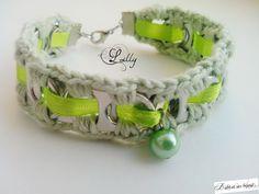 Bracelet romantique vert tirettes canettes : Bracelet par babi-et-ses-bijoux