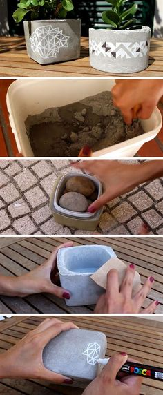 Create your own inexpensive DIY table top concrete planters that are decorated with geometric patterns and are the perfect size for succulents. art geometric Make These Simple DIY Concrete Planters With Geometric Art Cement Art, Concrete Crafts, Concrete Projects, Diy Projects, Wood Crafts, Project Ideas, Diy Concrete Planters, Diy Planters, Concrete Table Top