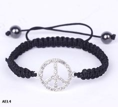Eozy Clearance :Silver Black Peace Crystal Bracelets Beads Jewelry Gift Nylon