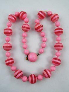 """Vintage Art Deco Era Chunky Bubble Gum Pink Celluloid Bead Necklace Austria 22"""""""