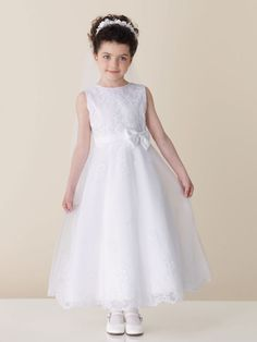 A-line sleeveless tulle over satin dress for flower girl