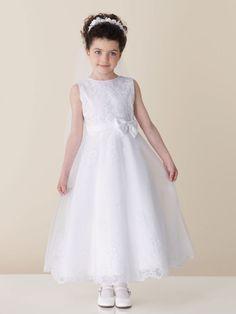 A-line sleeveless tulle over satin dress for flower girl
