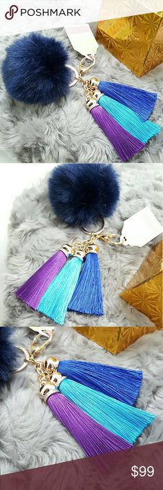 "Navy Pom Pom Tricolor Tassel Keychain Clearance! New Arrival! 1pc Navy Pom Pom Tricolor Tassel Keychain. Elegant Handbag Accessories, Key Charm, Bag Charm, Keyring. Approx: 6.0""x4.0"" Color: Gold,Blue,Purple,Aqua Teal. Alloy Plated Bundle other Bag Charms or 31 Designs of any New Arrival Twillys, Keyrings & Keychains from my closet will receive EXTRA HOUSE GIFTS! Bundle Save Shipping Bundle Offer Always Welcome Please use offer button.Final Sale Raise question before purchase please Thank you…"