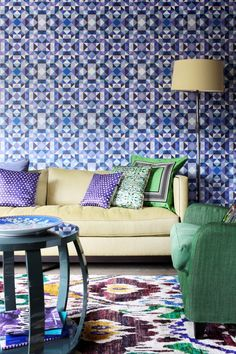 Bright living room colors. Wallpaper  Assorted Cushions || Image courtesy of Mariska Meijers