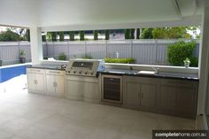 With summer getting closer in Australia, we need to start thinking about outdoor entertaining: whether it's barbecuing seafood on Christmas day, sausage sizzle on Australia Day or just general summer entertaining. The experts at Australian BBQ manufacture Outdoor Bbq Kitchen, Outdoor Cooking Area, Outdoor Kitchen Design, Outdoor Entertaining, Outdoor Kitchens, Backyard Kitchen, Outdoor Areas, Outdoor Rooms, Outdoor Dining