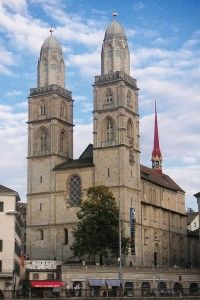 Grossmunster Church of Zurich in Zurich, Switzerland. Learn more about this forgotten, but extremely important, site of the Protestant Reformation here: http://thecompletepilgrim.com/grossmunster-zurich/
