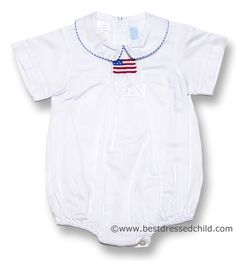 Betty Terrell Infant Baby Boys White Smocked American Flag Bubble