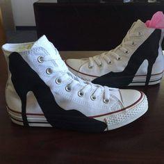 High Heel on Converse painted shoes  High Heel by HeavenlyHayley