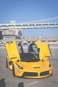 The Ferrari California - Super Car Center Ferrari Laferrari, Maserati, Fancy Cars, Cool Cars, Yellow Car, Sweet Cars, Expensive Cars, Car In The World, Held