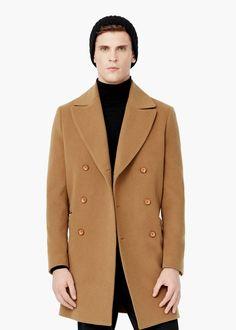 Manteau laine gris clair homme