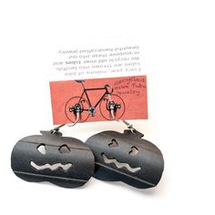 Up-cycled #Halloween Earrings  made from recycled #bike inner tubes  #jewelry