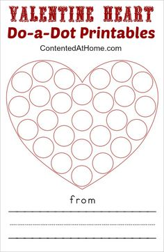 Do-a-dot printables are wildly popular with my right now. Whether they are ABCs, numbers, or art projects, she loves them all. These Valentine Heart Do-a-Dot Printables are perfect for p. Valentine's Day Crafts For Kids, Valentine Crafts For Kids, Valentine Ideas, Valentine Theme, Valentine Heart, Valentine Nails, Do A Dot, Valentines Day Activities, Preschool Crafts