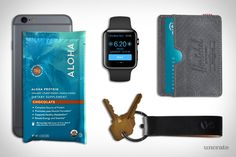Aloha Protein Powder 14-Pack ($30). Apple Watch ($399). Apple iPhone 6s ($649). Octovo Keychain ($65). Herschel Supply Charlie Wallet ($30). Presented by Aloha....
