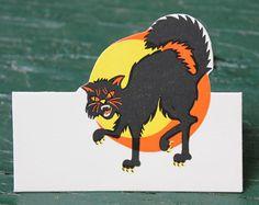 Vintage Halloween Ephemera ~ Beistle Black Cat Place Cards ©1963