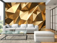 """Beautiful and Stunning this large wallpaper mural """" Golden Dome"""" looks fantastic up and will transform your Room into something fabulous! This wallpaper mural will give off the wow factor in any room or workplace. - Wallpaper World Wallpaper With 3d Effect, 3d Wallpaper Mural, 3d Wallpaper Living Room, Brick Wallpaper, Photo Wallpaper, Golden Wallpaper, Golden Decor, Office Interior Design, Wall Design"""