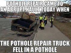 Pothole Truck Fell in Pothole!