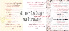 Perspective: Mother's Day Quotes and Printables