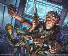 Rodian and Besalisk bounty hunters from Star Wars